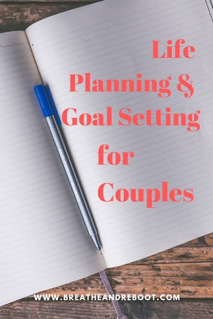 "blank notebook and pen captioned ""Planning and Goal Setting for Couples"""