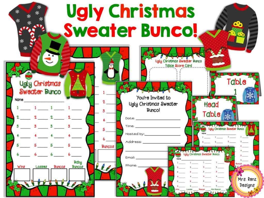 Bunco Christmas Game Ugly Christmas Sweater party