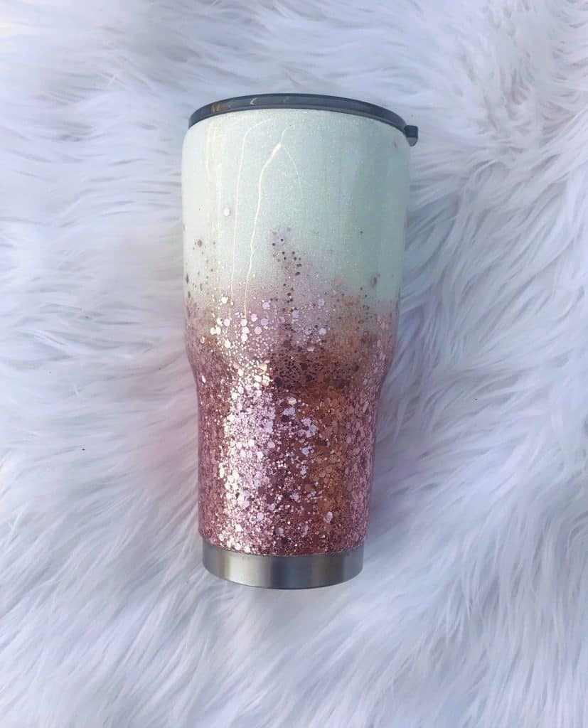 Glitter and Rose Gold Tumbler