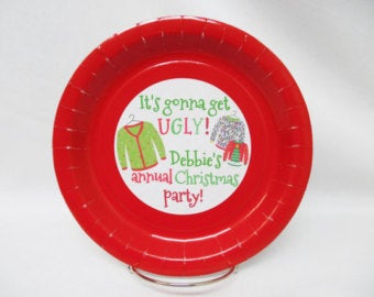 Ugly Christmas Sweater Party Paper Plates