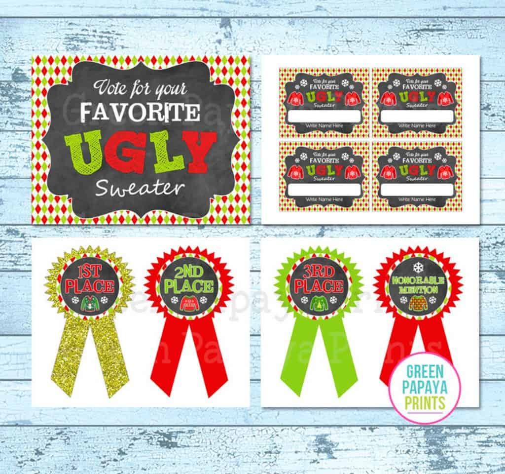 Ugly Christmas Sweater Party Voting Cards and Ribbons