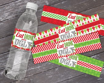 Ugly Christmas Sweater Water Bottle Labels