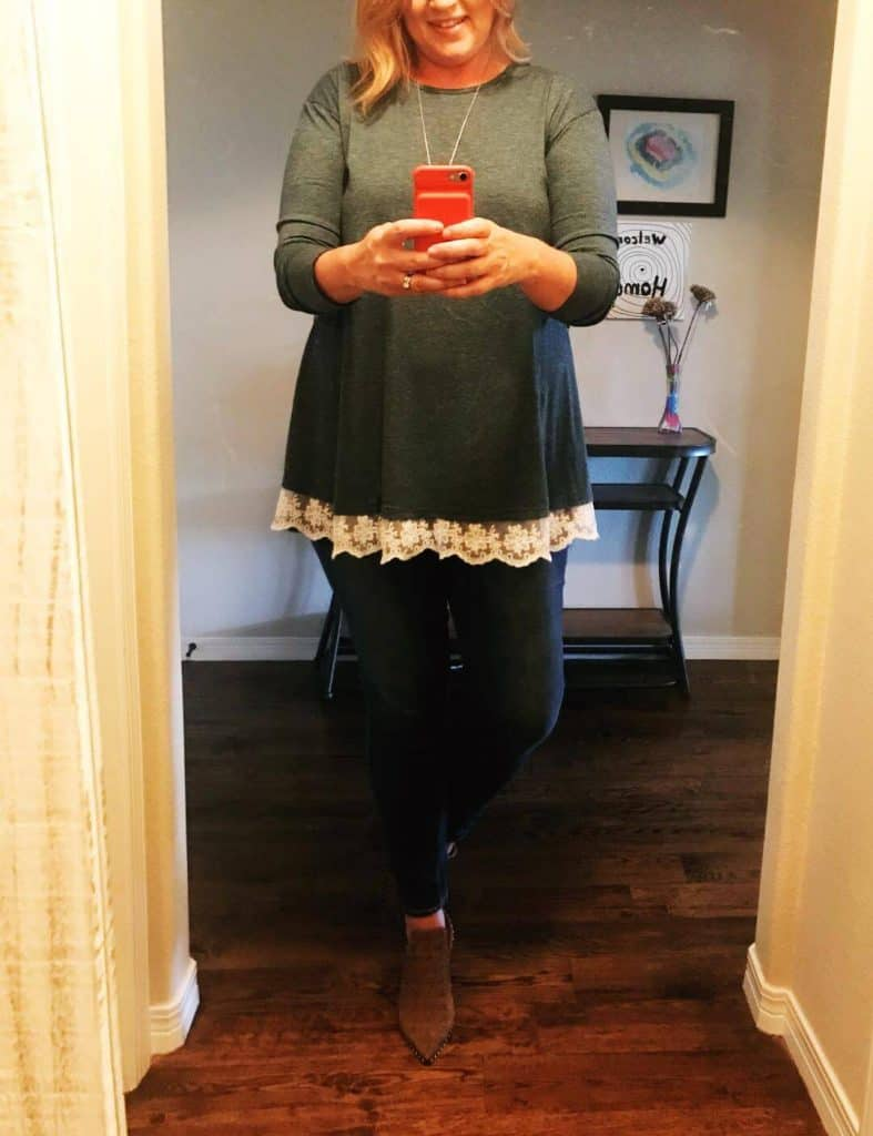 Green lace trimmed tunic and skinny jeans in long length from Amazon Prime.