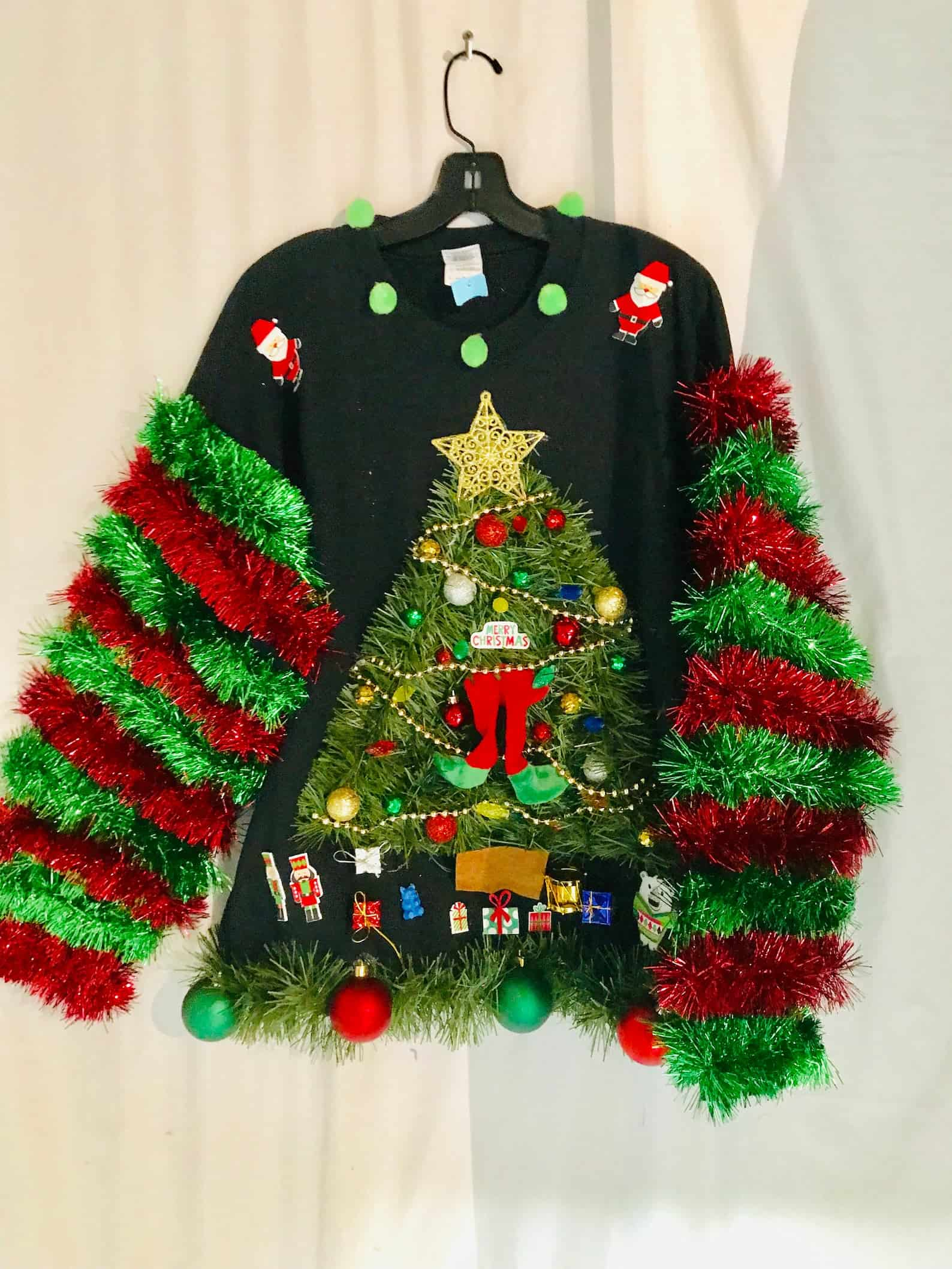 Ugly Tacky Christmas Sweater with Grinch in a Tree, Garland and Lights on Etsy