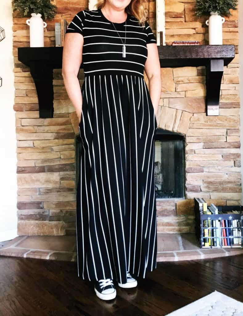 Long black and white striped maxi dress for tall women.