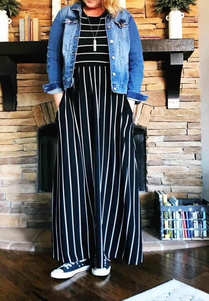 Denim jacket and long black and white striped maxi dress for tall women.
